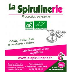 Spiruline Bio francaise artisanale Bouin en comprimés 540g pour une cure de 6 mois