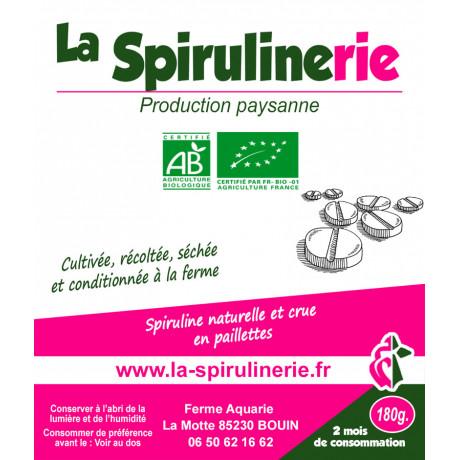 Spiruline France Bio artisanale Bouin en comprimés 180gr pour une cure de 2 mois