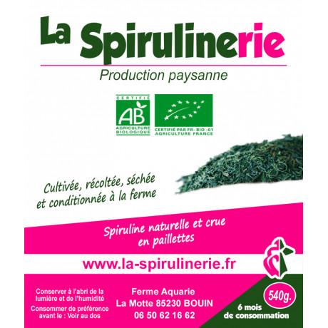 Acheter Spiruline Bio francaise artisanale Bouin en paillettes pour cure 6 mois