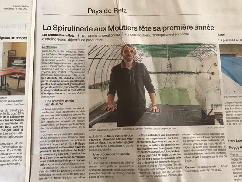 Spiruline BIO artisanale production française, cultivée récoltée en Vendée aux Moutiers en Retz France